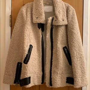 Zara Teddy Bear Moto Sherpa Coat